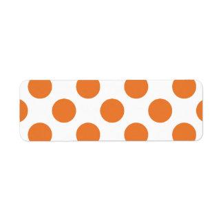 Lunares blancos y anaranjados etiqueta de remitente