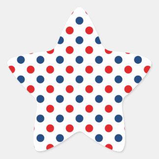 Lunares blancos y azules rojos pegatina en forma de estrella