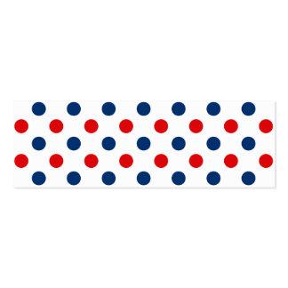 Lunares blancos y azules rojos tarjetas de visita mini