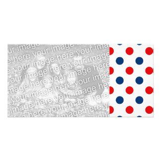 Lunares blancos y azules rojos tarjetas fotograficas