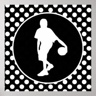 Lunares blancos y negros; Baloncesto Poster