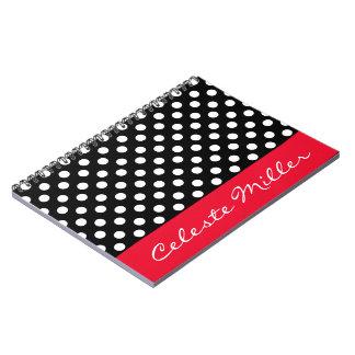 Lunares blancos y negros con acento rojo spiral notebooks
