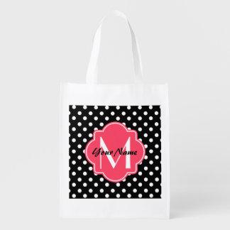 Lunares blancos y negros con el monograma rosado bolsas reutilizables