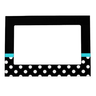 Lunares blancos y negros de la raya azul del trull marcos magneticos para fotos