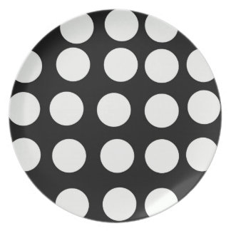 Lunares blancos y negros de las placas decorativas platos de comidas