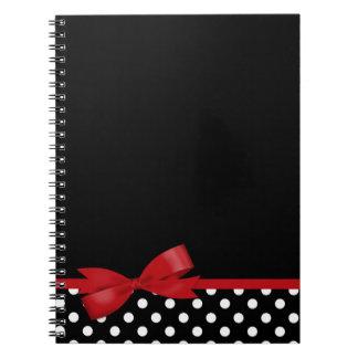 Lunares blancos y negros del arco rojo libro de apuntes