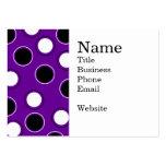 Lunares blancos y negros en círculos púrpuras plantillas de tarjetas personales