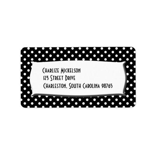 Lunares blancos y negros etiquetas de dirección