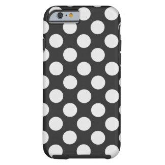 Lunares blancos y negros funda de iPhone 6 tough