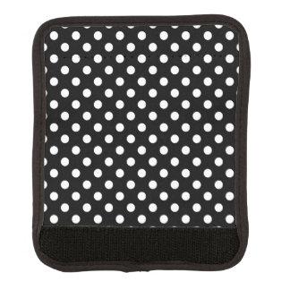 Lunares blancos y negros cobertura para asa de maleta