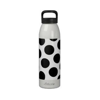 Lunares blancos y negros grandes botella de agua