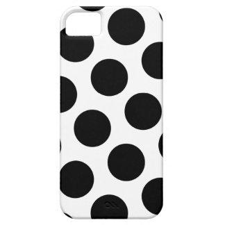 Lunares blancos y negros grandes funda para iPhone 5 barely there