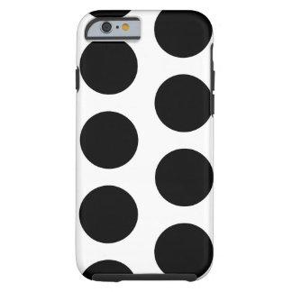 Lunares blancos y negros grandes funda para iPhone 6 tough