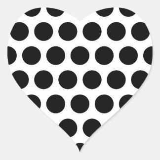 Lunares blancos y negros grandes pegatina en forma de corazón