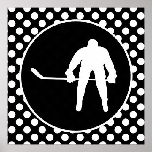 Lunares blancos y negros; Hockey Poster