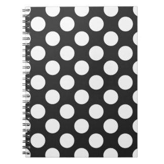Lunares blancos y negros libro de apuntes con espiral