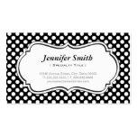 Lunares blancos y negros lindos - elegante simple tarjetas de visita