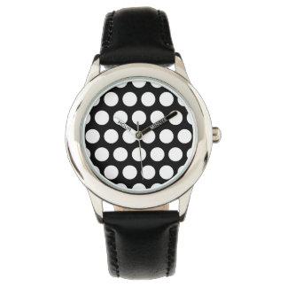 Lunares blancos y negros reloj