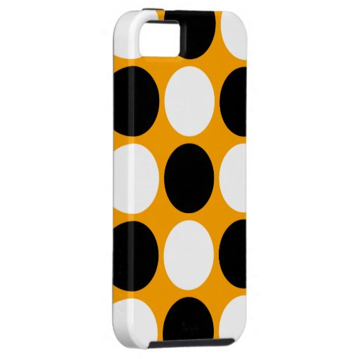 Lunares blancos y negros retros en el naranja iPhone 5 fundas