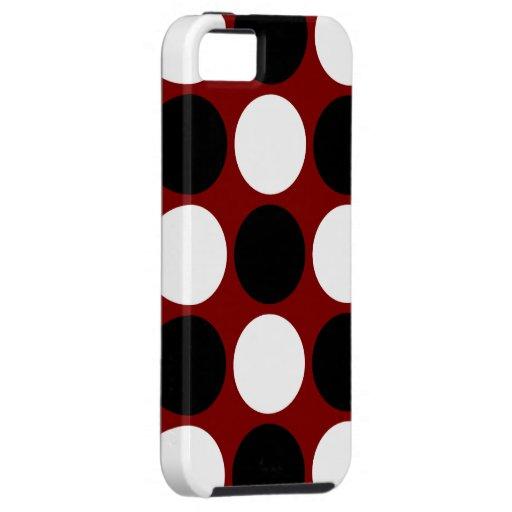 Lunares blancos y negros retros en marrón iPhone 5 Case-Mate cárcasas