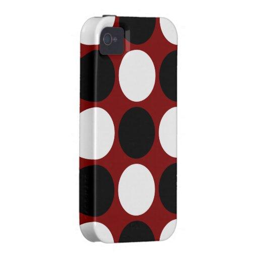 Lunares blancos y negros retros en marrón funda para iPhone 4/4S