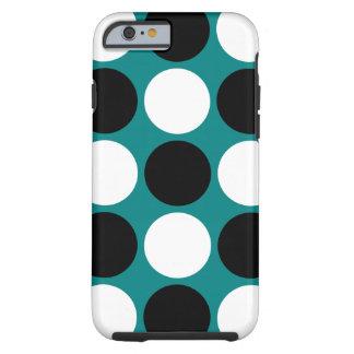 Lunares blancos y negros retros en trullo funda de iPhone 6 tough