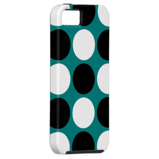 Lunares blancos y negros retros en trullo iPhone 5 carcasas