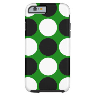 Lunares blancos y negros retros en verde funda para iPhone 6 tough