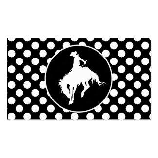 Lunares blancos y negros; Vaquero del rodeo Tarjetas De Visita