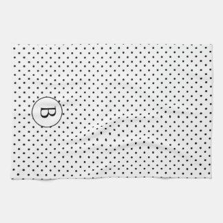 Lunares blancos y negros w/Monogram Toalla De Mano