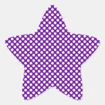 Lunares blancos y púrpuras pegatinas forma de estrella