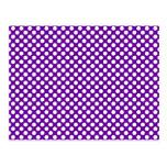 Lunares blancos y púrpuras tarjetas postales