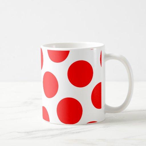 Lunares blancos y rojos grandes taza básica blanca