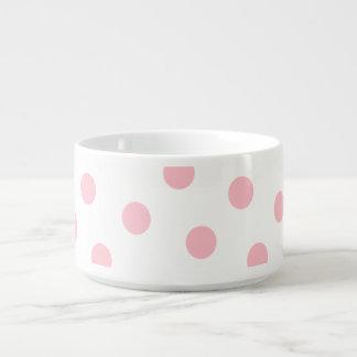 Lunares blancos y rosados tazón