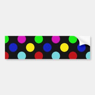 Lunares brillantes coloridos en negro pegatina para auto