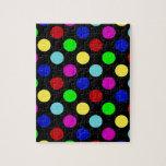 Lunares brillantes coloridos en negro puzzles con fotos