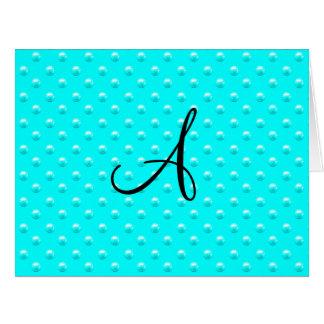 Lunares brillantes de la perla de la aguamarina de tarjeta