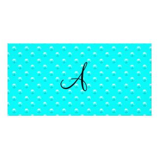 Lunares brillantes de la perla de la aguamarina de tarjeta fotografica personalizada