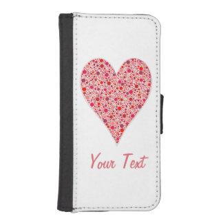 Lunares carmesís de la forma del corazón en rosa billetera para iPhone 5