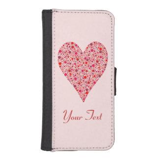 Lunares carmesís de la forma del corazón en rosa funda tipo cartera para iPhone 5