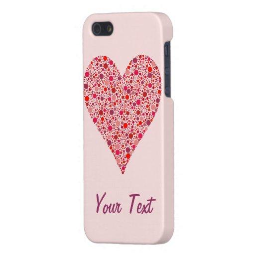 Lunares carmesís de la forma del corazón en rosa iPhone 5 fundas