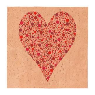 Lunares carmesís de la forma del corazón en rosa posavasos