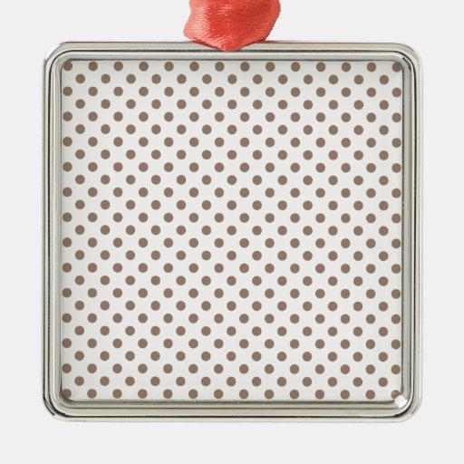 Lunares - castor en blanco adorno cuadrado plateado
