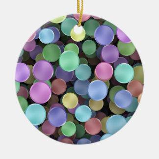 Lunares chispeantes del arco iris adorno redondo de cerámica