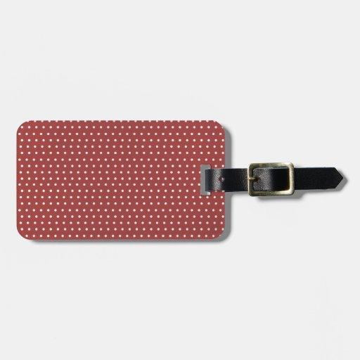 Lunares color de rosa y blancos etiqueta de maleta