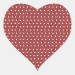Lunares color de rosa y blancos calcomania de corazon