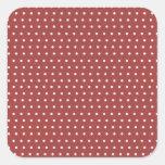 Lunares color de rosa y blancos calcomanías cuadradass personalizadas