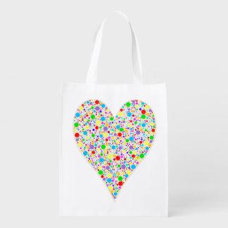 Lunares coloreados multi del arco iris de la forma bolsas de la compra