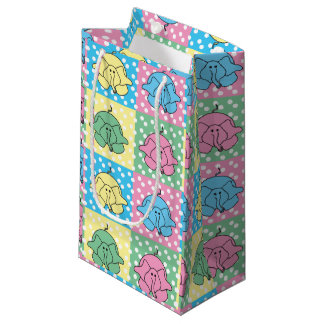 Lunares coloreados pastel del elefante bolsa de regalo pequeña
