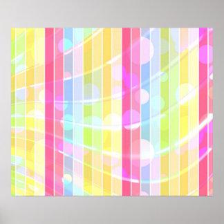 Lunares coloridos abstractos modernos de las rayas póster